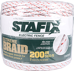 STAFFIX ELECTRIC FENCE EXTREME BRAID COPPER STRAND