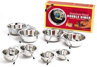 1Qt Stainless Steel Double Diner Dog Dish