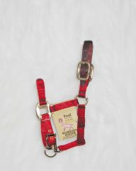 Foal Adjustable Halter W/leather Head Poll - Red