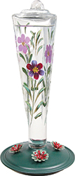 Violet Meadows Glass Hummingbird Feeder - Hand-painted fluted gl