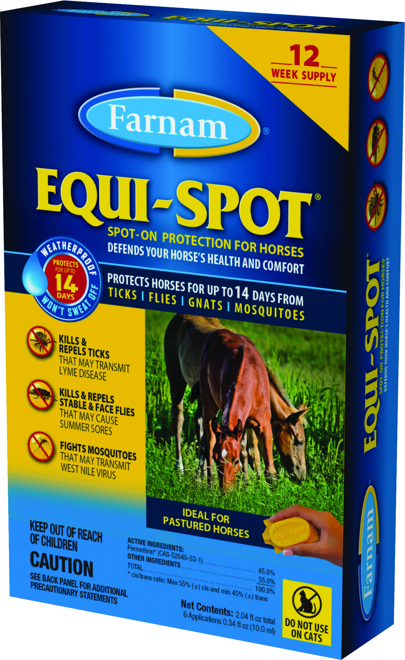 EQUI SPOT SPOT-ON FLY CONTROL FOR HORSES STABLE PK
