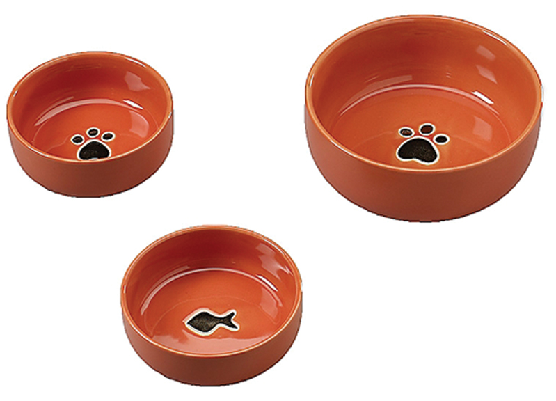 "6.5"" Ceramic Wide Rim Dog Dish - Tiger Design"