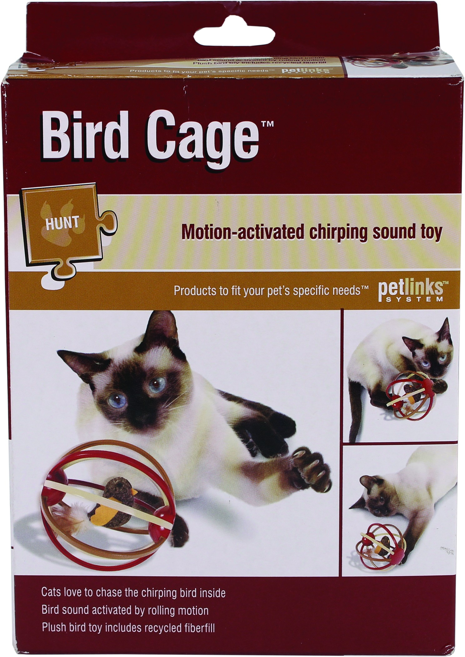 BIRD CAGE MOTION-ACTIVATED CHIRPING SOUND CAT TOY