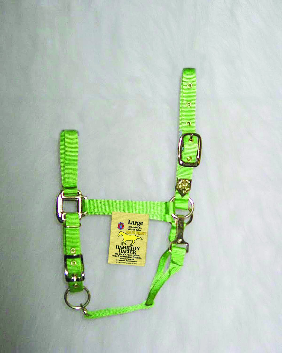 "1"" Adjustable Halter W/snap - Lime - Large"