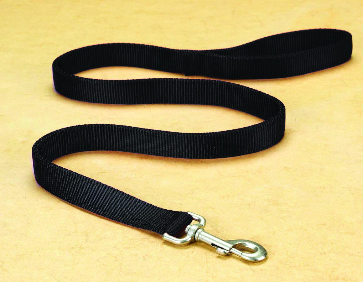 "1"" Deluxe Double Loop Nylon Lead w/swivel snap - Black (4'"