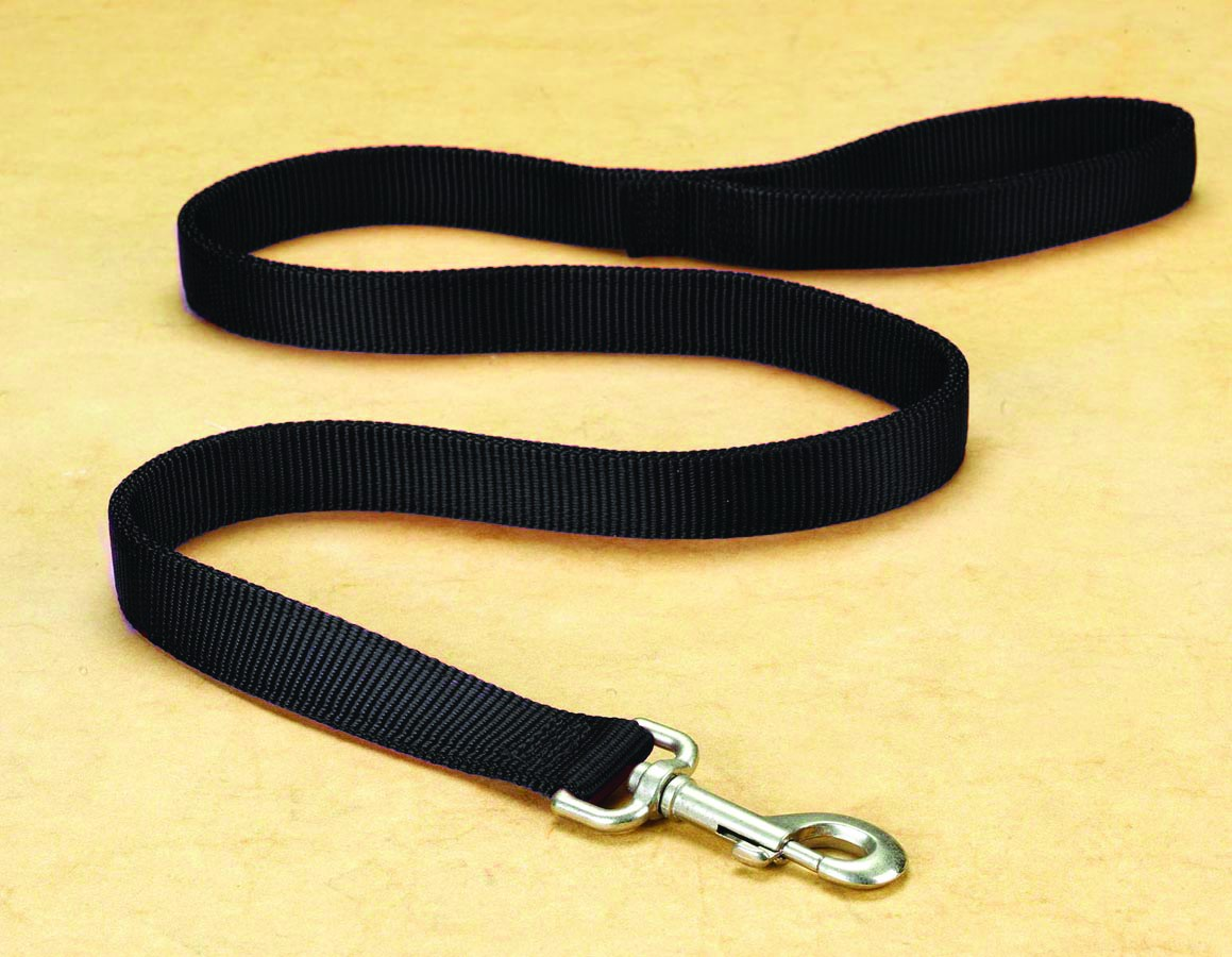 "1"" Deluxe Double Loop Nylon Lead w/swivel snap - Black (6'"