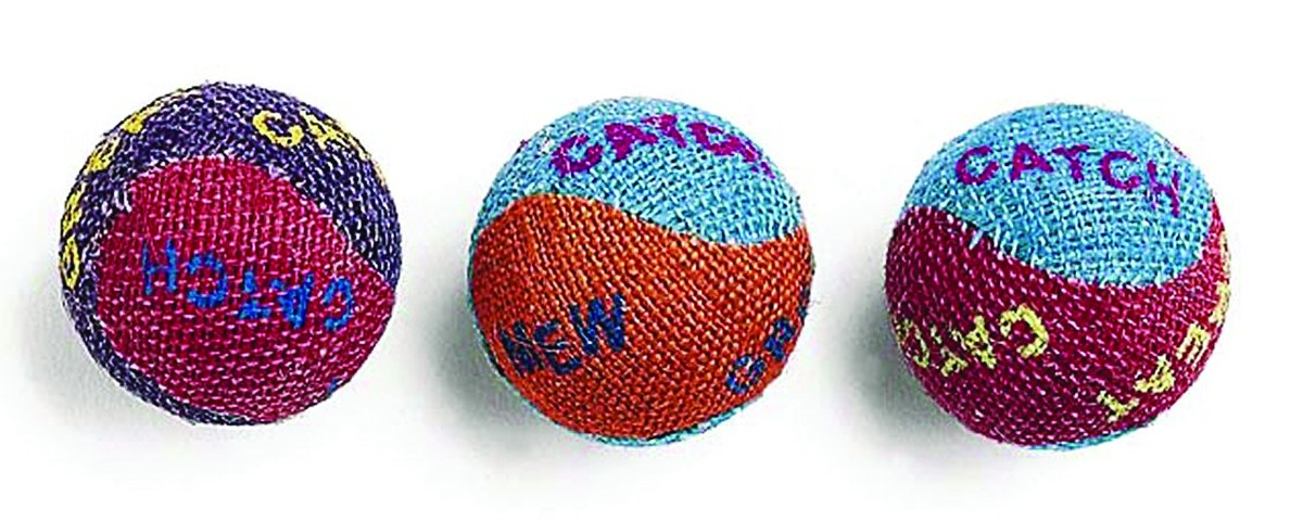 Burlap Cat Balls 3Pk