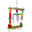 HAPPY BEAKS NATURAL WOOD SWING WITH ROPE BIRD TOY