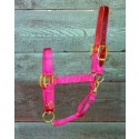 Adjustable Halter W/leather Head Poll  - Red - Yearling