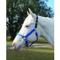 Adjustable Halter W/leather Head Poll - Blue - Medium
