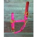 Adjustable Halter W/leather Head Poll - Red - Medium